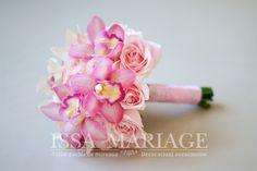 buchet mireasa cu trandafiri roz pal si orhidee Icing