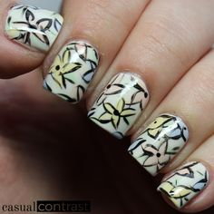Abstract Floral Nail Art featuring OPI Soft Shades • Casual Contrast