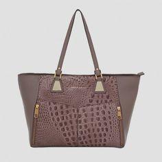 Bolsa em couro croco e metais dourados   Smartbag Bolsas