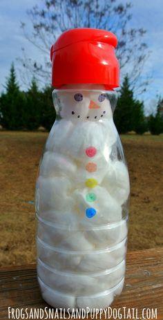 Fine Motor Skills Build A Snowman using cotton balls, tweezers & empty coffee creamer bottles - FSPDT