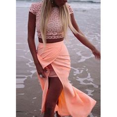 Wholesale Sexy Round Neck Crochet Flower Short Sleeve Crop Top + Solid Color Skirt Twinset For Women Only $9.86 Drop Shipping | TrendsGal.com