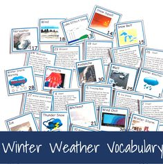 Winter Weather Vocabulary Concept of the Day Cards - peanut butter fish lessons Weather Vocabulary, Teaching Vocabulary, Vocabulary Cards, Social Skills Activities, Vocabulary Activities, Kids Educational Crafts, Educational Websites, Planets In The Sky, Libros