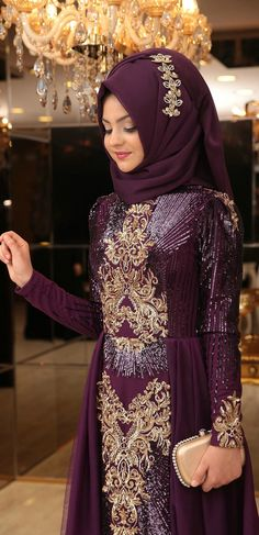 Pınar Şems Güneş Abiye -Mor Muslim Prom Dress, Muslim Wedding Gown, Muslim Wedding Dresses, Wedding Hijab, Hijab Dress Party, Party Wear Dresses, Kaftan, Hijabi Gowns, Arabian Beauty Women
