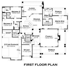 Bungalow Cottage Country Tuscan Level One of Plan 65875