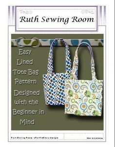EASY REVERSIBLE Tote Bag Pattern Designed with by RuthSewingRoom, $3.95