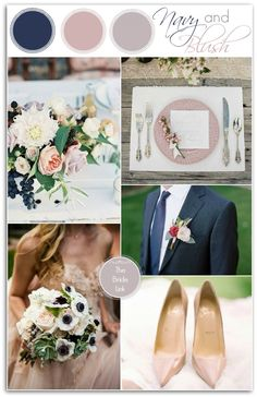 Navy and Blush Wedding Ideas for Winter - so formal, navy is so masculine and the blush so feminine, the perfect combination for pure elegance.