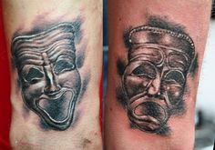 tragedy and comedy theatre masks tattoo by Mirek vel Stotker by stotker, via Flickr