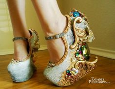 """Skull """"Catacomb Saint"""" Jewel and Crystal Encrusted Wedges Funky Shoes, Cute Shoes, Me Too Shoes, Women's Shoes, Shoe Boots, Weird Shoes, Skull Shoes, Gold Shoes, Crazy Heels"""