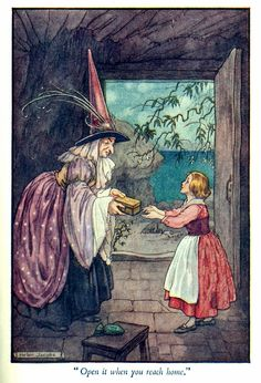 illustration by Helen Jacobs - from 'Paths in Storyland' by Stella Mead 'The Old Woman Who Looks After The Weather'