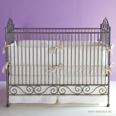 Casablanca Iron Crib in Pewter by Bratt Decor traditional cribs Girl Cribs, Baby Cribs, Iron Crib, Peacock Baby, Traditional Cribs, French Baby, Nursery Furniture, Baby Online, Nursery Neutral