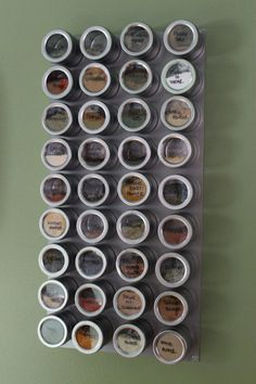 Our cabinets and counterspace were cluttered with spices.  It was driving me nuts.  Therefore, I decided to create my own magnetic spice rack!Bed Bath and Beyond sells these magnetic tins, which ar…