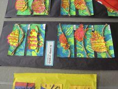 chameleons-print background, twisted paper bag branches