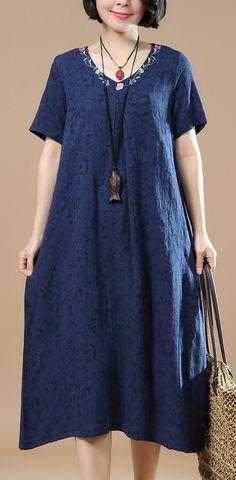 Fine navy linen maxi dress oversize v neck linen gown vintage jacquard linen caftans