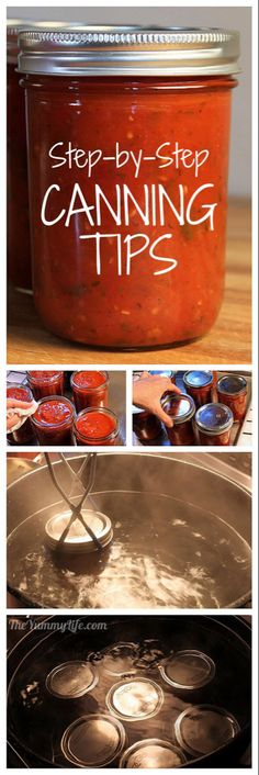 Canning Steps Step-by-step water process canning tips for beginners.Step-by-step water process canning tips for beginners. Canning Tips, Home Canning, Canning Process, Canning Water, Canning Tomatoes Water Bath, Canning Homemade Salsa, Salsa Canning Recipes, Canning Salsa, Do It Yourself Videos