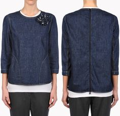 Brunello Cucinelli Denim T-Shirt Top New Basic - Womens 2014 Spring Summer Fashion Made in Denim Style Finds - Italy