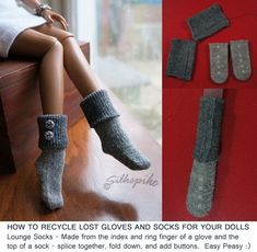 """List of free patterns for various sizes of dolls.  Shown: tips of old knitted gloves used to make socks for a 16"""" doll on http://www.silkspike.com/hats.html."""