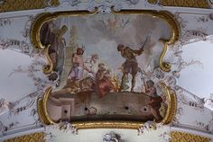 Amorbach, Abteikirche, Deckenfresko von M. Günther, Martyrium der Heiligen Faustinus und Simplicius (Abbey Church, ceiling fresco, martyrdom of Sts. Faustinus and Simplicius)