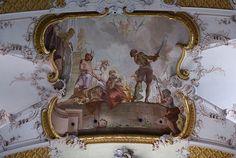 Amorbach, Abteikirche, Deckenfresko von M. Günther, Martyrium der Heiligen Faustinus und Simplicius (Abbey Church, ceiling fresco, martyrdom of Sts. Faustinus and Simplicius)