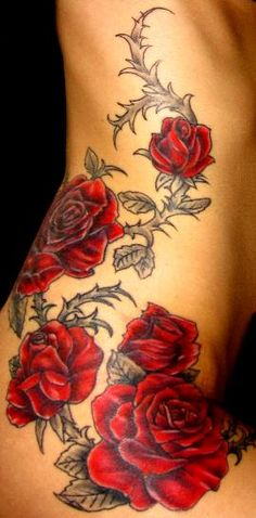 Red roses with black foliage ~ floral tattoo this gorgeous but I could never do something like that