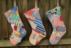 This listing is for one stocking - the last one like this, I am all out of this lovely old quilt. ----------  What once was an old cotton crazy