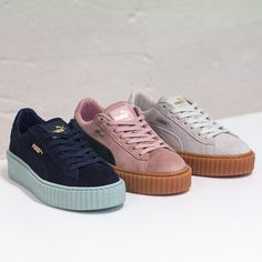 66 Trendy Ideas For Sneakers Puma Suede Creepers Suede Shoes, Shoes Sandals, Puma Creepers, Rihanna Creepers, Fenty Creepers, Rihanna Pumas, Rihanna Puma Sneakers, Shoes Sneakers, Street Style Fashion
