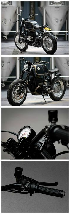 """The 'Wylam Beemer"""" a R100R customized by @dustmotorcycles. We love to see our m-Blaze Disc and Pin, the m-Grip Soft, the motoscope classic speedo, the m-Switch Mini and the m-Lock on it. A great bike! What do you think?"""