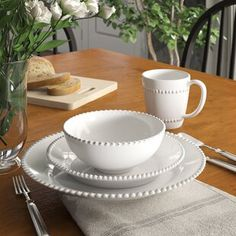 Birch Lane Heritage Milford 16 Piece Dinnerware Set, Service for 4 Stoneware Dinnerware Sets, Square Dinnerware Set, White Dinnerware, Farmhouse Dinnerware Sets, Farmhouse Tabletop, Rustic Dinnerware, Ceramic Tableware, Kitchen Canisters, Kitchen Dishes