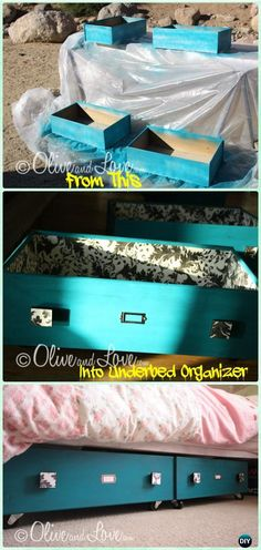 Old dresser drawers - DIY Old Drawer Under The Bed Sliding Storage Instruction Instructions Practical Ways to Recycle Old Drawers for Home We are want to say thanks if you like to share this post to another people Diy Storage Dresser, Old Dresser Drawers, Diy Drawers, Old Dressers, Dresser Ideas, Dresser Drawer Crafts, Diy Upcycled Drawers, Diy Storage Bed, Wooden Drawers
