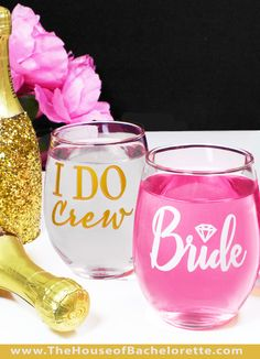 Step up your bachelorette decorations to a whole new level with these fun and inexpensive stemless wine glasses for the Bride and bachelorette party!