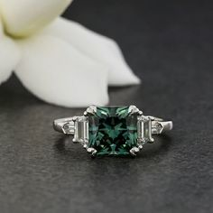 1.60CT CUSHION EXCELLENT MOISSANITE BLU GREEN VVS1 Other