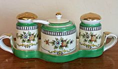 Noritake Roseara condiment set- rare vintage by TashasVintageAndArt on Etsy