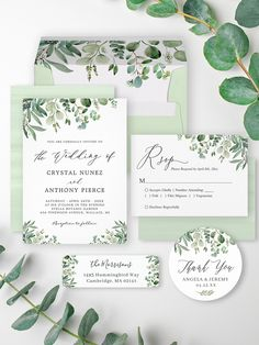 """""""Greenery Eucalyptus Leaves"""" is one of the most popular invitation theme for Every Occasion!. We created amazing custom designs for this theme from Invitations to RSVP card, Information Card, Labels, Sign Posters and more. Enjoy! Summer Wedding Invitations, Wedding Invitation Design, Custom Invitations, Eucalyptus Leaves, Wedding Themes, Rsvp, Greenery, Custom Design, Place Card Holders"""
