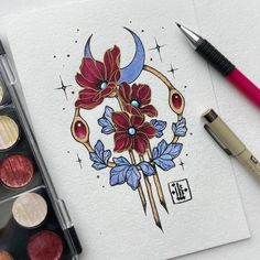 Art nouveau floral tattoo