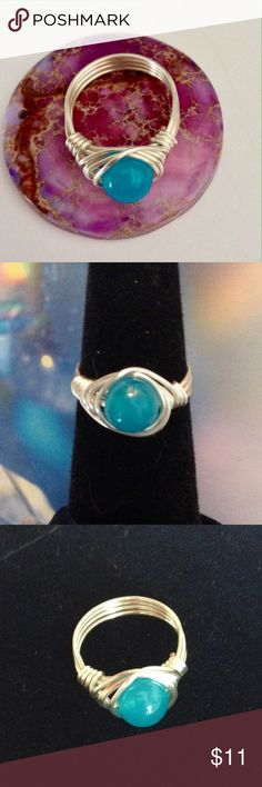 Blue Apatite Gemstone Ring So Pretty! Blue Apatite Gemstone WireWrapped with Sterling Silver Plated Wire! Custom Size Jewelry Rings