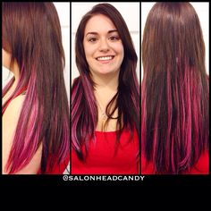 Want the fun bright color without the chemicals or commitment? Get extensions!! They're just as fun!! Like these amazing purple peekaboo highlight extensions by Kristin, our Certified Hotheads Educator!! #salonheadcandy #extensions #hairextensions #purplehair #hotheadshairextensions @hotheadsext