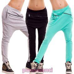 Pantaloni donna tuta zip cavallo basso turca harem sport elastici nuovi CC-1251