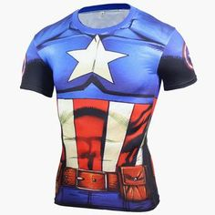 Captain America Classic Black Panther  Fitness Compression Shirt