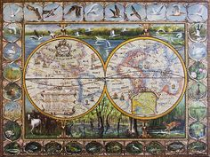 Map Painting, Canvas Prints, Framed Prints, Old Maps, Painting Leather, Close Image, Vintage World Maps, Greeting Cards, Tapestry