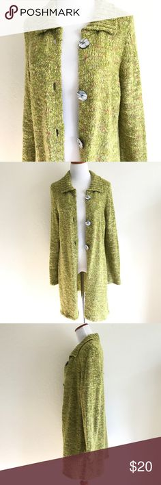 """KINTAMANI by Wild River Knit Long Cardigan Keep nice and warm with this multi colored knit sweater cardigan from Kintamani. Beautiful cotton color with hints of pink and yellow. 3 large pearlized button front, collar. 91% acrylic 5% nylon 4% wool hand wash. EUC no rips stain or holes, but is lightly fuzzy due to gentle wear and normal characters of yarn. Approx flat meas: length 35"""", bust 19"""", sleeve 26"""", waist 18.5"""", hem 24"""" Kintamani Sweaters Cardigans"""