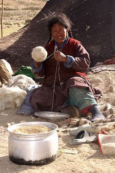 Nomadic Woman from Ladakh Plying ball