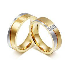 18 K Chapado En Oro Anillo Alianza CZ Diamond Wedding Band Anillo de Titanio Par de Acero Anillo para Las Mujeres y Los Hombres de Calidad venta al por mayor
