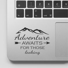 Macbook Decal Quote | Adventure awaits | Explore Travel Mountain Decal | Motivational Laptop Decal Quote | Inspirational Macbook Sticker by FixateDesigns on Etsy