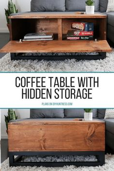 DIY coffee table with hidden storage. #coffeetable #hiddenstorage #coffeetableideas #diycoffeetable