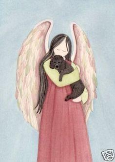 Black Poodle cradled by angel / Lynch signed folk art print #folkart