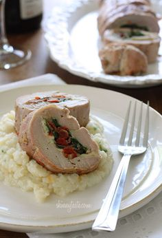 Spinach Prosciutto and Mozzarella Stuffed Pork Tenderloin | Skinnytaste.com