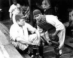 Berg, right, with player-manager and friend Joe Cronin in the Boston Red Sox dugout, circa Not to be reproduced without permission of the Princeton University Library. Baseball Photography, Wit And Wisdom, Boston Red Sox, Romance Novels, Lab, Couple Photos, Leather, Prince, Dinner