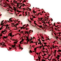 "Hot pink damask print 2.5"" shabby chiffon rose trim"