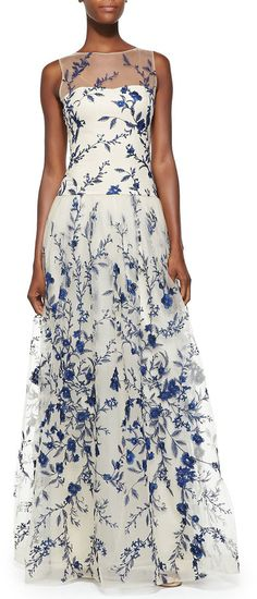 Notte by Marchesa Sleeveless Embroidered Overlay Gown on shopstyle.com