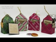 Wrapped In Warmth, Warmth & Cheer DSP Stack, Gold embossing powder, Gold Baker's Twine - Pootles Advent Countdown 2016 Envelope Punch Board Bag in a Box Chocolate Coin Treats Envelope Saco, Envelope Maker, Chocolate Coins, Chocolate Box, Chocolate Recipes, Envelope Punch Board Projects, Chocolates, Stampin Up Anleitung, 3d Paper Crafts