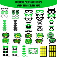 Green Super Hero Party Hulk Green Lantern Birthday Party Printable Photo Booth PhotoBooth Props. Only $4.99! Buy it now at www.amandakeyt.com. Buy the app! Enjoy life!